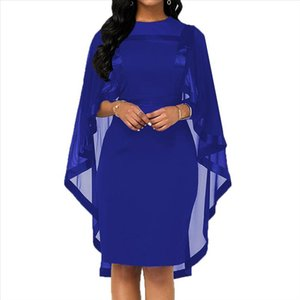 Fashion Women Cape Slim Fits Round Collar Cocktail Party Banquet Bodycon Dress Autumn Womens Mesh Gown Dress