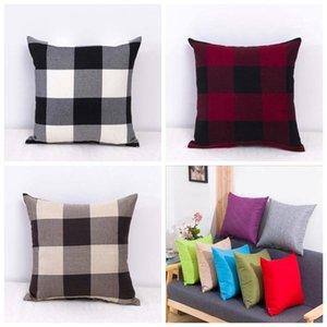Grid Pillowcases Pillow Case Plain linen Pillowcases Fashion Sofa Cushion Cover Car Pillowcase Decoration Home Decoration FWB3112