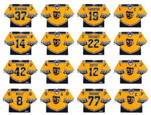 Vintage Boston Bruins Jersey 37 Patrice Bergeron 19 Joe Thornton 14 Sergei Samsonov 42 P.J. Stok 12 Adam Oates Heinze CCM Gerileme Hokeyi