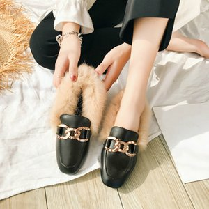 Comfortable Slip One Women Mule Shoes Square Toe Fluffy Mocassins Faux Fur Flat Shoes Ladies Furry Loafers Zapatos De Mujer LN07