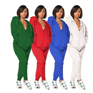 2021Fall Winter women 2 two piece clothing Zipper Hooded Jacket leggings pants tracksuits with pockets outfits set sweatsuits jogging clothe