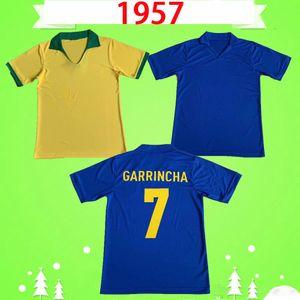 1957 Бразил ретро футбол футбол # 7 Garrincha Vintage Classic футбол футбол домой подальше желтый синий высочайшее качество с коротким рукавом