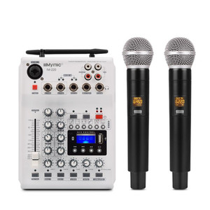 Portable DJ Console Mixer Soundcard with 2 channel UHF wireless microphone for Home PC Studio Recording Network Live Karaoke