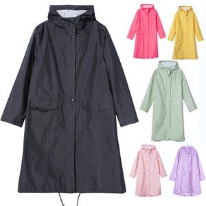 Long Raincoat Women Men Waterproof Windproof hooded Light Rain Coat Ponchos Jacket cloak Female Chubasqueros White Coat Inside J1211