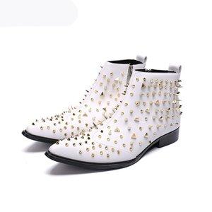 Stivali fatti a mano Uomo Rivetti bianchi Rivetti Caviglia Scarpe da uomo in pelle Stivali a punta Zapatos de Hombre White Wedding Party Boots Uomo