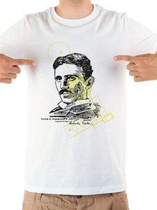 Nikola Tesla مضحك تي شيرت الرجال الصيف جديد أبيض عارضة أوم بارد المهوس الزى