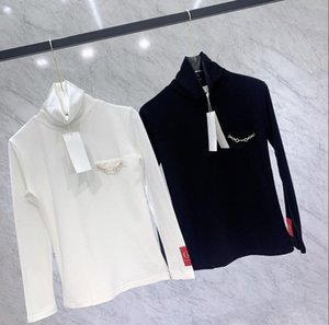 21 autumn and winter new high neck buckle chain embroidery armband top slim slimming long-sleeved bottoming shirt women