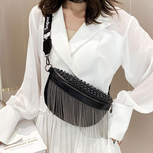 Designer-New Women Punk Rivet Waist Bags Tassel Cool Leather Chest Belt Bags Crossbody Shoulder Phone Money Bum Hip Purse