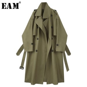 [EAM] Women Army Green Big Size Long Trench New Lapel Long Sleeve Loose Fit Windbreaker Fashion Tide Spring Autumn 2021 1X199 201226