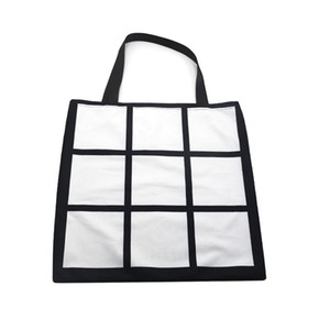 9 Squares Sublimation Blank Bag Single Side Black Shopping Handbags 40*40cm One Shoulder Sack Cloth Reusable 12ex G2