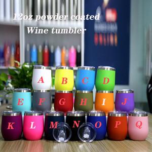 12oz النبيذ بهلوان الفولاذ المقاوم للصدأ النبيذ النبيذ مسحوق المغلفة الكؤوس البيض الملونة النبيذ النبيذ النبيذ مع شريحة غطاء شحن مجاني