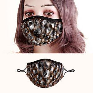 Maschere calde Donne Leopard Moda Full Mask Bling Designer Faccia HLVPP Strass di cristallo per trapano cotone Bling Stone Glitter Maschere maschera IQQX