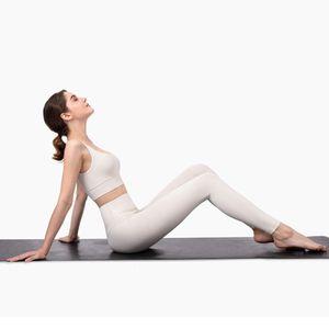 Profissional nua - se sente escovado tecido esportivo esportes outfit leggings definir terno mulheres marfim branco yoga roupas727