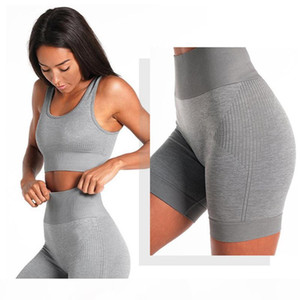 High quality Seamless Yoga Sets Women top Bra and high waist quick drying Sport shorts Gym Running Workout fitness Sports Sets T200610