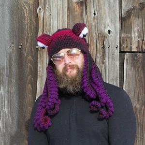 Новый год Хэллоуин Рождественская пара, вязаная вязаная вязаная шерстяная шляпа вечеринка весело сложные головные уборы Осьминога шляпа Dropshipping 201127