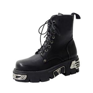 Punk Style Platform Women Ankle Boots Women's Motorcycle Boot Fashion Ladies Chunky Shoes Metal Decor Black BIG