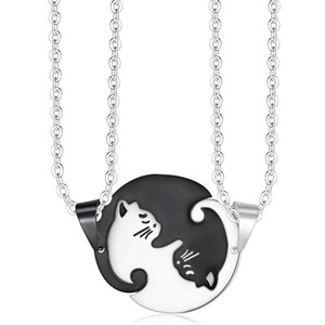 10 Pcs Stainless Steel Lovely White and Black Cat Pendant Link Chain Necklace for Gift Map Jewelry