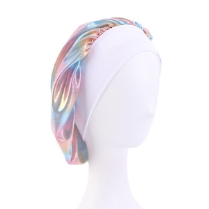Nachtschlaf Turban Hut Headwrap Bonnet Chemo Kappe Muslimische Frauen Wide Stretch Seiden Satin Atmungsaktiv Bandana Haar Zubehör DDA2673