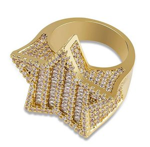 Mens Iced Out 3D Gold Super Star Rings Micro Pave Cubic Zirconia 14K Gold Plated Simulated Diamonds Hip hop Ring with gift box