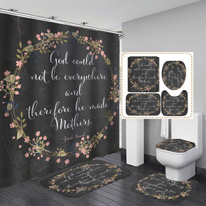 Hot sale Bathroom Sets Shower Curtain Set 4 Pcs HOT SALE Shower Curtain Mat Set Toilet Cover 180X180CM Shower Curtain Toilet Seat Covers