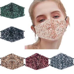 Fashion Bling 3D Washable Reusable Face Shield Elbow Sequins Shiny Luxury  lady sexy party Face Masks with PM2.5 Filters pocket
