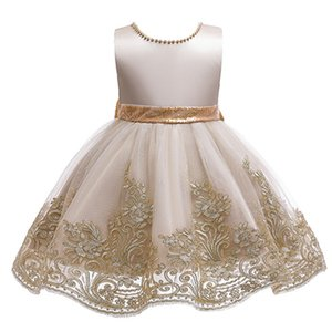 Flower Embroidered Lace Backless Sequin Big Bow Baby Girl Dress Princess Elegant Birthday Party Dress For Girl Dresses Kid