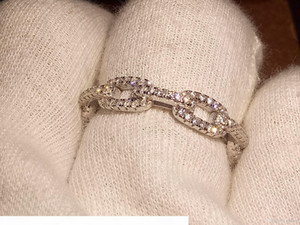 Wholesale USpecial Free 2018 Top Selling Luxury Jewelry Pure 100% 925 Sterling Silver Pave White Sapphire CZ Women Wedding Chain Band Ring