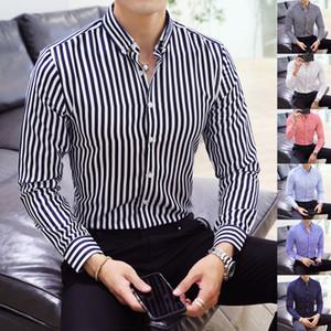 Cotton Oxford Mens Shirts High Quality Striped Business Casual Soft Dress Social Shirts Regular Fit Male Shirt Big
