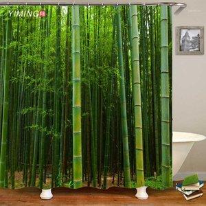 Yiming Green Bambù Bamboo Foresta 3D Stampato Bagno Doccia Tenda Doccia Bagno Decorativo schermo lavabile doccia