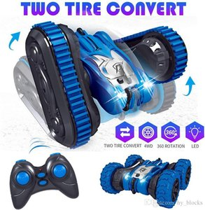 2.4G Remote In 2 Control Boy 1 Sided Children Stunt Car Crawler Tank CarS Jumping Car Tumbling Double Birthday Gifts Vkigg