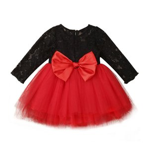 6M-5Y Christmas Kid Baby Dress For Girl Long Sleeve Lace Tutu Party Wedding Formal Red Dresses Princess Tulle Dress Girl Clothes 201204
