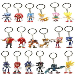 6Pcs Set 7cm Sonic Figures Toy Pvc Toy Sonic Shadow Tails Characters Figure Keychain Toys For Children Animals Toys Set Q1123