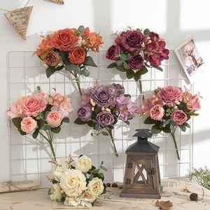 Un solo paquete de flores artificiales Peony Hydrangea Decoraciones de Navidad de la boda para el hogar DIY Sala de estar Decoración Arreglo JK2102XB