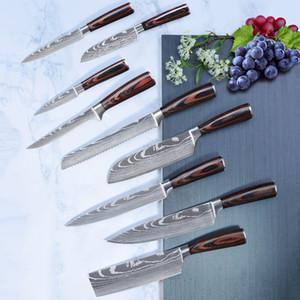 Chef Knife Set Profession Japanese Kitchen Knives Laser Damascus Pattern Sharp Santoku Cleaver Slicing Utility Boning Knives Cooking Tools