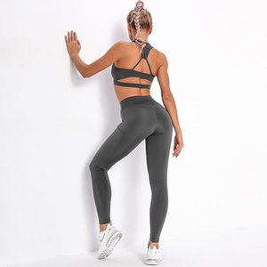2020 Hot Sale Sexy Striped Pocket Yoga Suit Women Beauty Back Top Bra Sports Running Fitness Pants