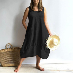 Solid Sleeveless casual dress Women Elegant Women Casual streetwear O neck Loose Pocket summer dress Ropa Mujer
