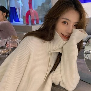 Hsa Women Turtleneck Sweater and Jumpers Pull Jumpers Oversized Loose Knitted Pull Tops Long Sweater CHic Korean Knitwear
