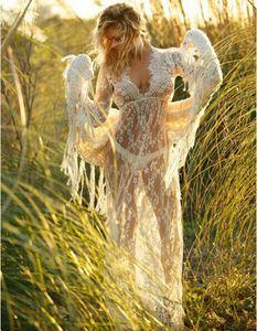 2020 manches longues bikini chemisier blouse blancs robe de dentelle en V encolure en V femme sexy maillot de bain femmes 4xl plus taille taille recouvrement de femmes voir à bikini