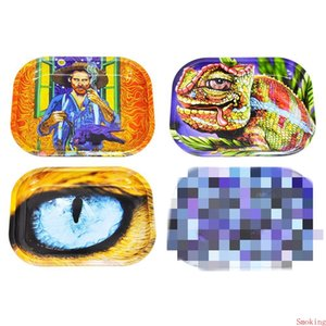 4 Styles Rolling Tray Metal Tobacco 18x14CM Hand Roller Roll Tin Case Spice Cigarette Smoking Herb Tobacco Plate Eyes Lizard Man Cartoon DHL