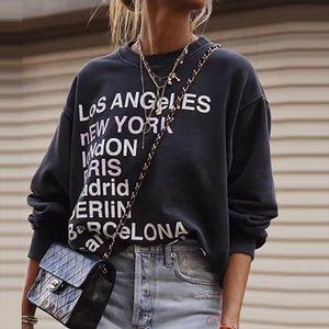 Vintage Thick Cotton Black France Design Letter Printing Sweatshirt Women 2020New Autumn Solid Drop shoulder Loose Stylish Women