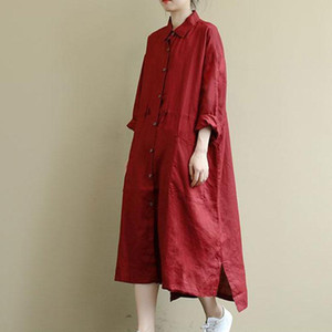 Spring Autumn New Arts Style Women Long Sleeve Turn-down Collar Red Shirt Dresses Double Pocket Cotton Linen Loose Long Dress