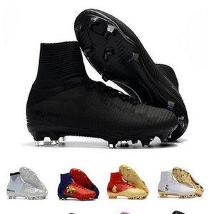 Caixa Dupla Homens Sapatos Mercurial Superfly CR7 V FG AG Futebol Cristiano Ronaldo Alto Tops Neymar Jr ACC Soccer Shoes Magista OBRA Mens Soccer