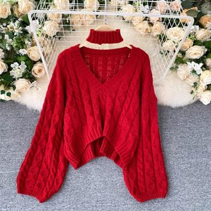 V Neck Twist Knit Long Sleeve Sweater Women Loose Crazy Style Thick Warm Bottom Multicolor Pull Femme Hiver Sueter Wild Clothes