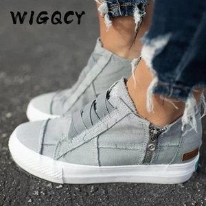 Women Shoes Flat New Spring Autumn Women Vulcanize Shoes Sneaker Ankle Side Zipper High Top Canvas Patchwork Ladies #0n6c