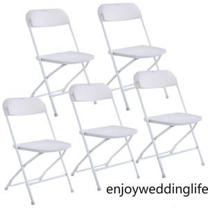 مجموعة جديدة من 5 الكراسي القابلة للطي البلاستيك حفل زفاف الحدث كرسي كراسي بيضاء تجارية لاستخدام حديقة المنزل