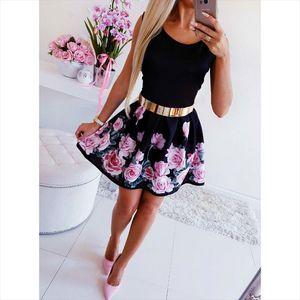 Women Boho Dress Casual Sleeveless O Neck Print Slim Dress Sexy Mini Bodycon Party Dresses Vestido Drop Shipping