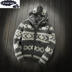 Thick Fleece Liner Autumn Winter Warm Mens Knitted Hooded Open Stitch Long Sleeve Zipper Male Cashmere Blends Sweaters Coats