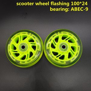 Free shipping children scooter wheel flashing lighting wheel 100*24 mm 120 mm PU wheel for children scooter Q1206