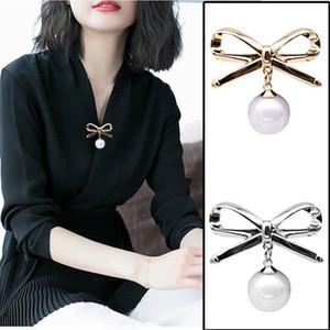 Künstliche Shell Perle Bowknot Brosche Dame Cardigan Horizontal Stil Mode Pin Zubehör Einfachheit Broschen Legierung 1 3xy P2