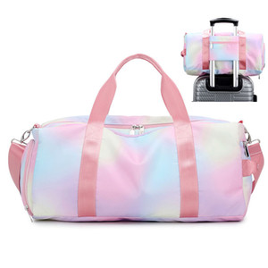 Women Waterproof Dwaterproof Water Gym Bag Travel Shoulder Duffle Bags Printing For Girls Canvas Luggage Organizer Pink Gym Bag Z1124